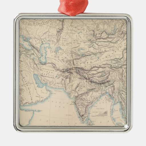 Physical Europe & Asia Square Metal Christmas Ornament
