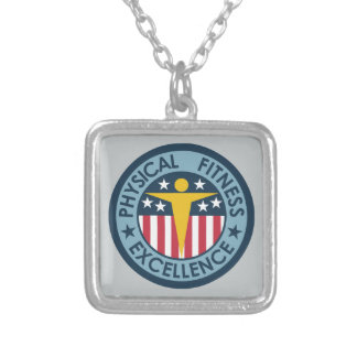 Physical Fitness Excellence Square Pendant Necklace