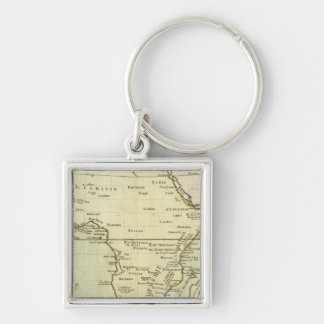 Physical map of Africa Silver-Colored Square Keychain