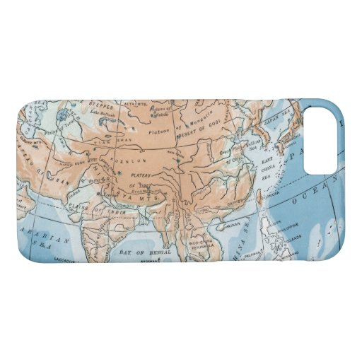 Physical Map of Asia (1916) iPhone 8/7 Case