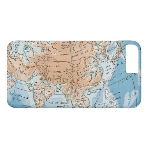 Physical Map of Asia (1916) iPhone 8 Plus/7 Plus Case