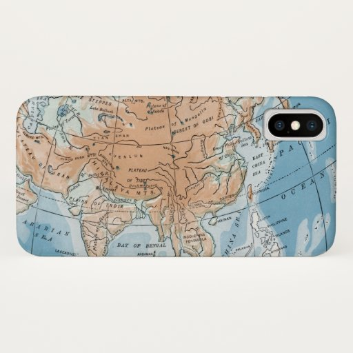Physical Map of Asia (1916) iPhone X Case
