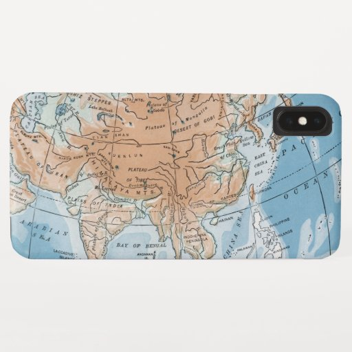 Physical Map of Asia (1916) iPhone XS Max Case