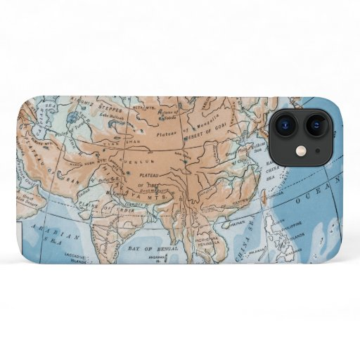 Physical Map of Asia (1916) iPhone 11 Case