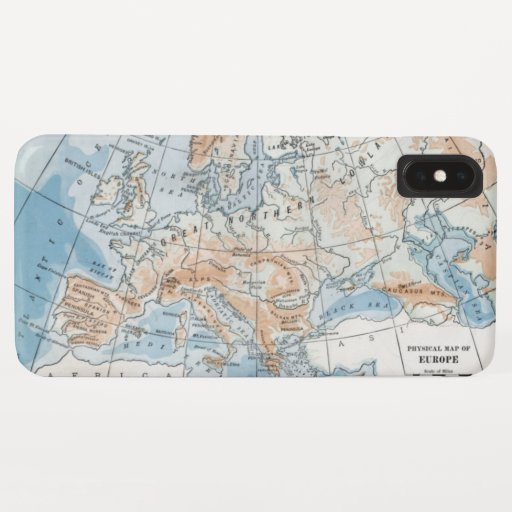 Physical Map of Europe (1916) iPhone XS Max Case