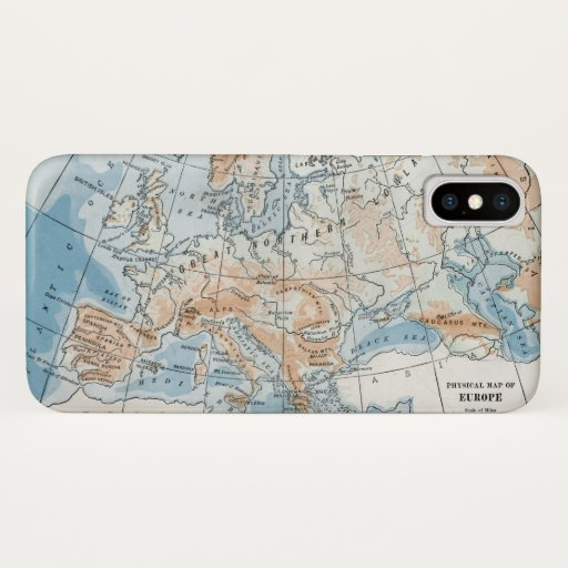 Physical Map of Europe (1916) iPhone X Case