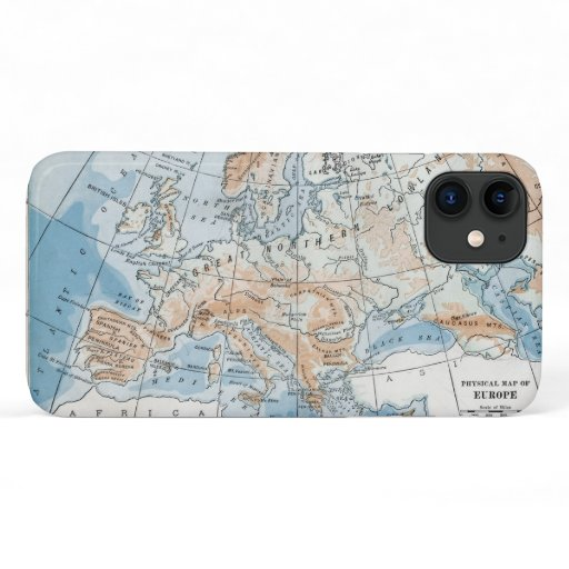 Physical Map of Europe (1916) iPhone 11 Case