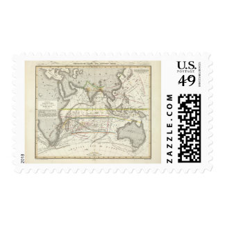 Physical Map of Indian seas Postage Stamp