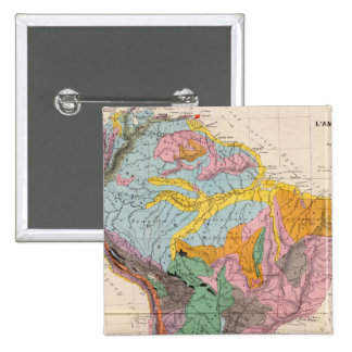 Physical Map of South America Pinback Button