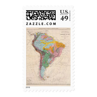 Physical Map of South America Postage Stamp