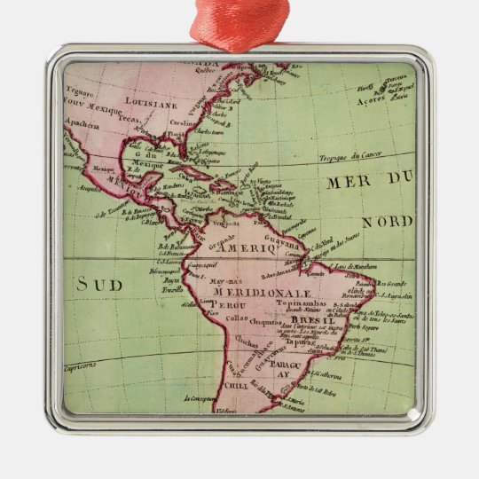 Physical map of the Americas Metal Ornament