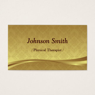 Physical Therapist - Elegant Gold Damask Business Card