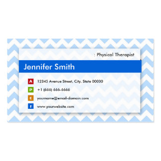 Physical Therapist - Modern Blue Chevron Business Card Templates