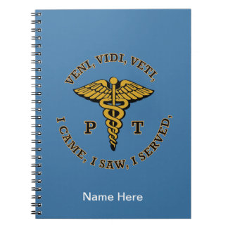 Physical Therapist PT Caduceus VVV Shield Note Book