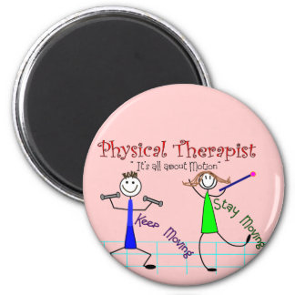 """Physical Therapist Stick People """"Keep Moving"""" 2 Inch Round Magnet"""