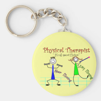 """Physical Therapist Stick People """"Keep Moving"""" Basic Round Button Keychain"""