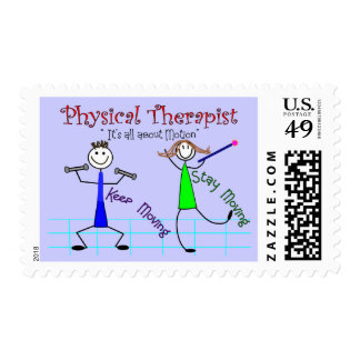 "Physical Therapist Stick People ""Keep Moving"" Postage Stamp"