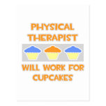 Physical Therapist ... Will Work For Cupcakes Postcards