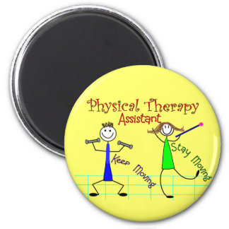 Physical Therapy Assistant Stick People Design 2 Inch Round Magnet