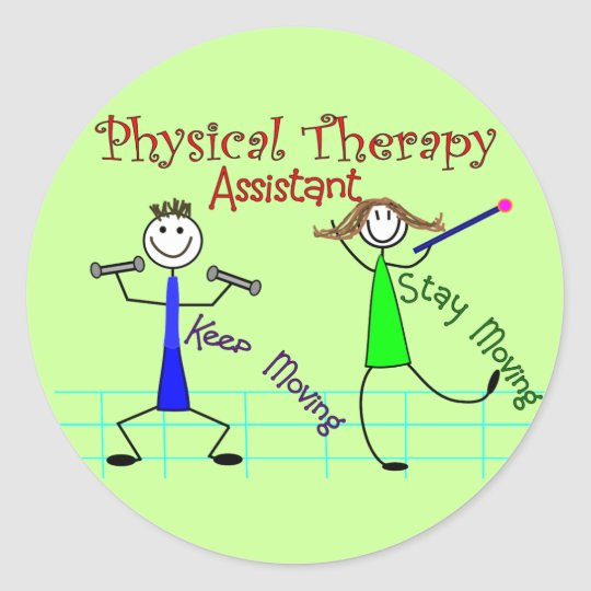 Physical Therapy Assistant Stick People Design Classic Round Sticker