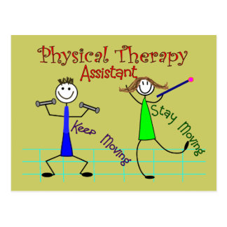 Physical Therapy Assistant Stick People Design Postcard