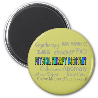 """Physical Therapy Assistant """"Terminology"""" Design 2 Inch Round Magnet"""