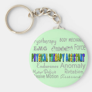"""Physical Therapy Assistant """"Terminology"""" Design Basic Round Button Keychain"""