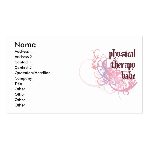 Physical Therapy Babe Double-Sided Standard Business Cards (Pack Of 100)