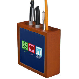 Physical Therapy Blue Peace Love Desk Organizer