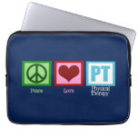 Physical Therapy Blue Peace Love Laptop Computer Sleeve
