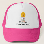 """Physical Therapy Chick Hat<br><div class=""""desc"""">A cute Physical Therapy Chick wearing lab coat and pin with the letters P.T. on clothing,  stationery and more medical theme merchandise and apparel. These items make a cute and funny gift for a female physical therapist or PT school graduate. Studios,  LLC.</div>"""