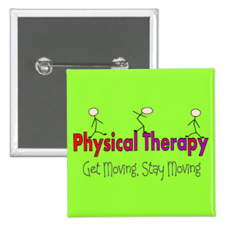 Physical Therapy Stick People Design Button