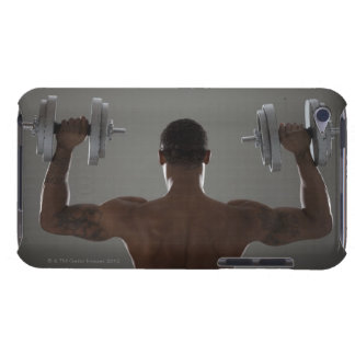 Physically fit man lifting dumbbells 2 barely there iPod case