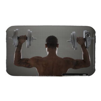 Physically fit man lifting dumbbells 2 iPhone 3 cases