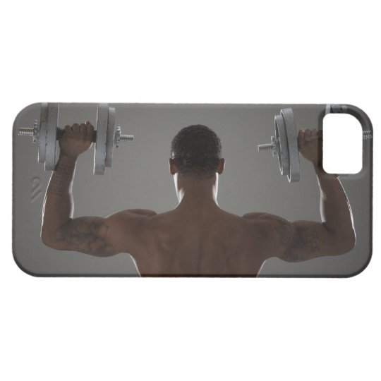 Physically fit man lifting dumbbells 2 iPhone SE/5/5s case