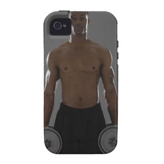Physically fit man lifting dumbbells Case-Mate iPhone 4 cover