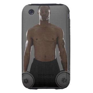 Physically fit man lifting dumbbells iPhone 3 tough cover