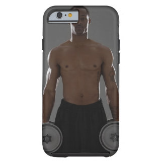Physically fit man lifting dumbbells tough iPhone 6 case