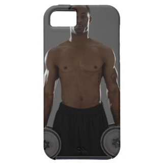 Physically fit man lifting dumbbells iPhone 5 cover