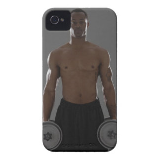 Physically fit man lifting dumbbells iPhone 4 case
