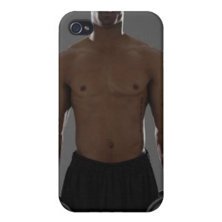 Physically fit man lifting dumbbells iPhone 4/4S cases