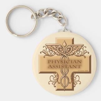 Physician Assistant Caduceus Basic Round Button Keychain