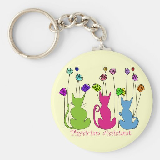 Physician Assistant Gifts Whimsical Cats Design Key Chains