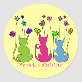 Physician Assistant Gifts Whimsical Cats Design Classic Round Sticker