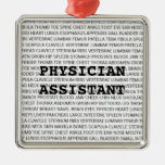 Physician Assistant Medical Terminology Christmas Square Metal Christmas Ornament