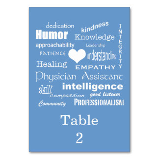 Physician Assistant Occasion/Word Cloud on Blue Card