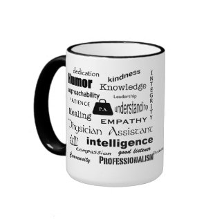 Physician Assistant-Word Cloud/Black Ringer Coffee Mug