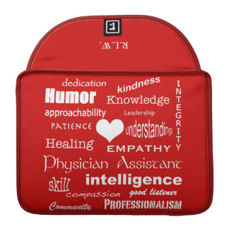 Physician Assistant Word Cloud+Initials/Red MacBook Pro Sleeve