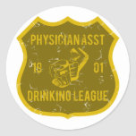 Physician Asst Drinking League Round Sticker