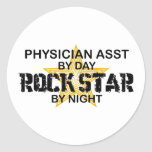 Physician Asst Rock Star by Night Round Stickers